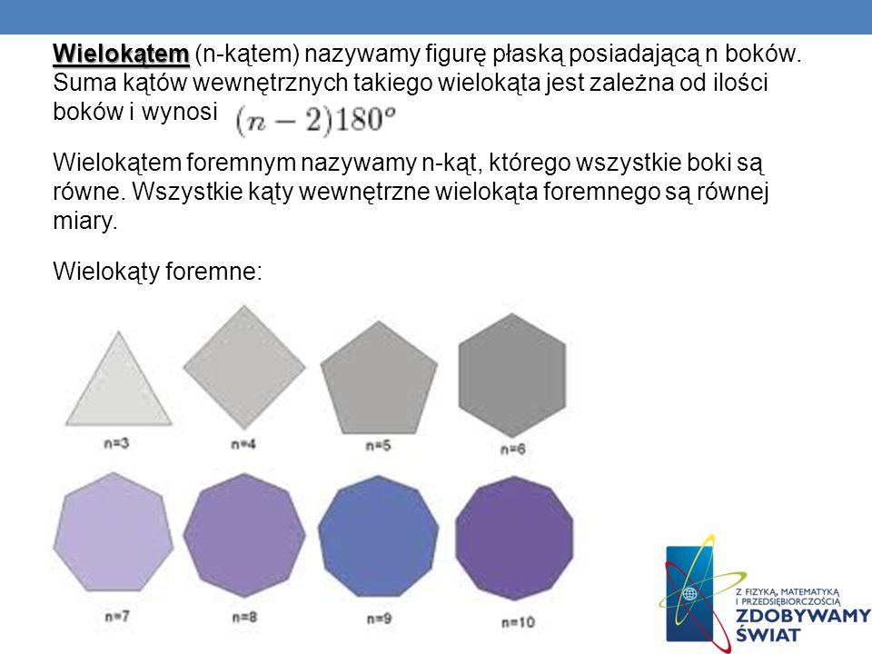Wielokątem Wielokątem (n-kątem) nazywamy figurę płaską posiadającą n boków. Suma kątów wewnętrznych takiego wielokąta jest zależna od ilości boków i w