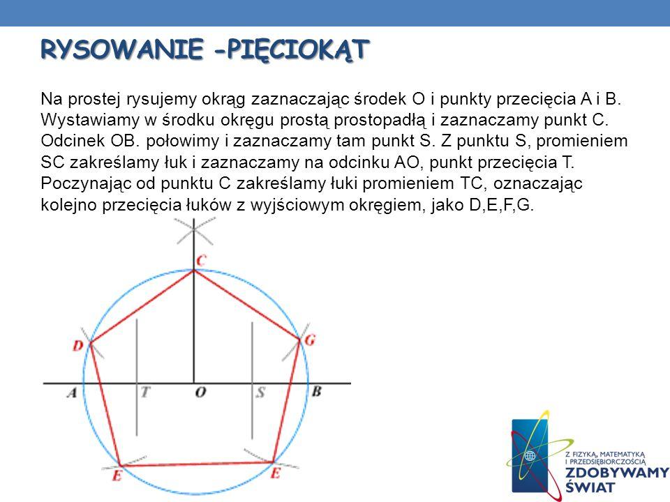 RYSOWANIE -PIĘCIOKĄT Na prostej rysujemy okrąg zaznaczając środek O i punkty przecięcia A i B. Wystawiamy w środku okręgu prostą prostopadłą i zaznacz