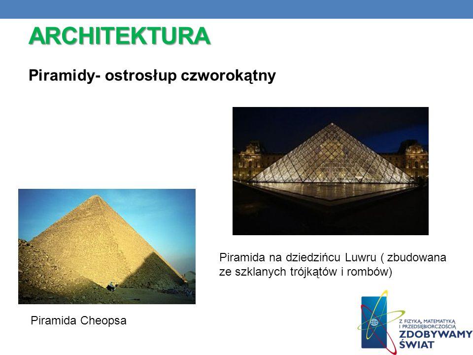 ARCHITEKTURA Piramidy- ostrosłup czworokątny Piramida Cheopsa Piramida na dziedzińcu Luwru ( zbudowana ze szklanych trójkątów i rombów)