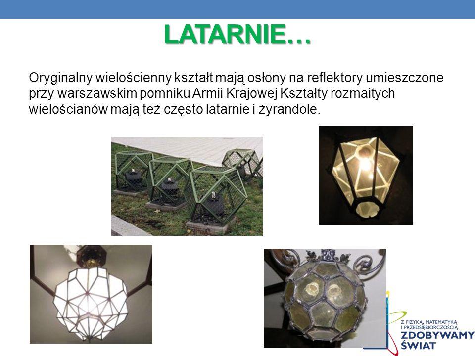 LATARNIE… Oryginalny wielościenny kształt mają osłony na reflektory umieszczone przy warszawskim pomniku Armii Krajowej Kształty rozmaitych wielościan
