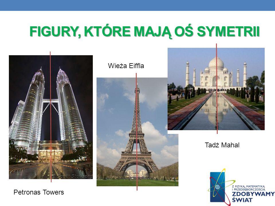 FIGURY, KTÓRE MAJĄ OŚ SYMETRII Petronas Towers Tadż Mahal Wieża Eiffla