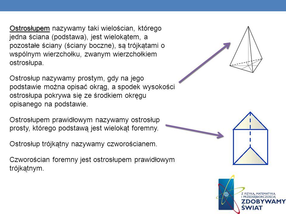 Ostrosłupem Ostrosłupem nazywamy taki wielościan, którego jedna ściana (podstawa), jest wieloka ̨ tem, a pozostałe ściany (ściany boczne), sa ̨ tr