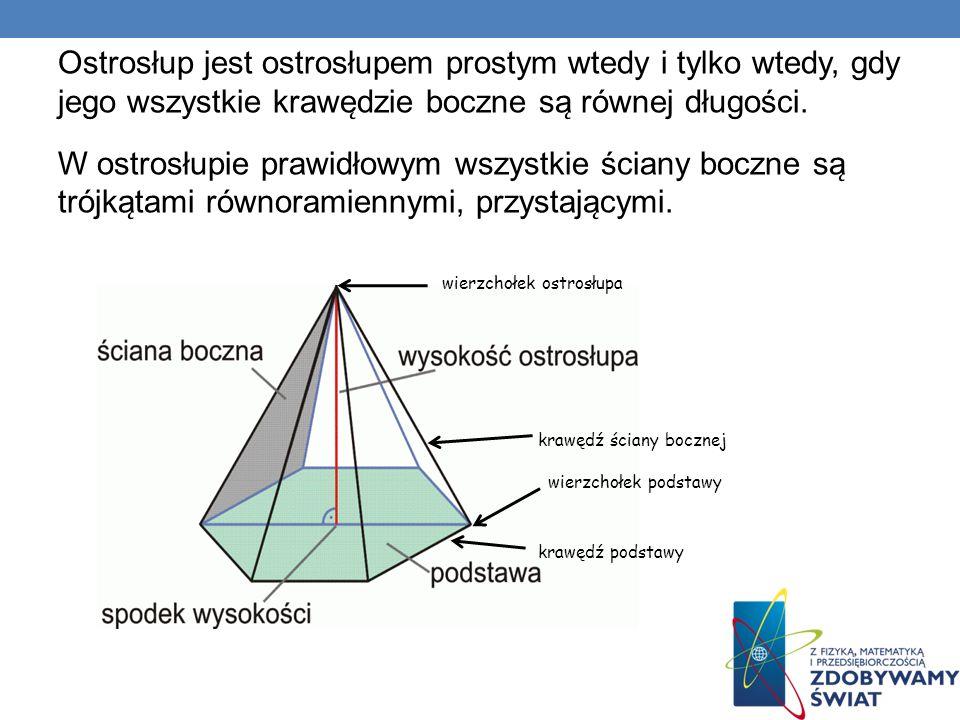 Ostrosłup jest ostrosłupem prostym wtedy i tylko wtedy, gdy jego wszystkie krawe ̨ dzie boczne sa ̨ równej długości. W ostrosłupie prawidłowym wszys