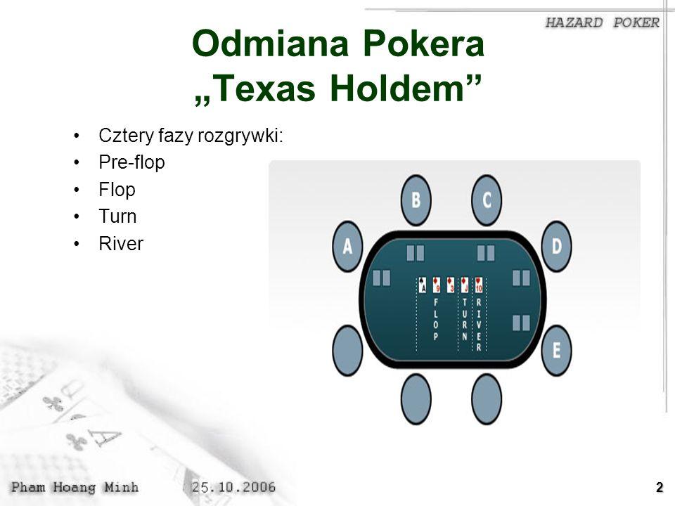 2 Odmiana Pokera Texas Holdem Cztery fazy rozgrywki: Pre-flop Flop Turn River