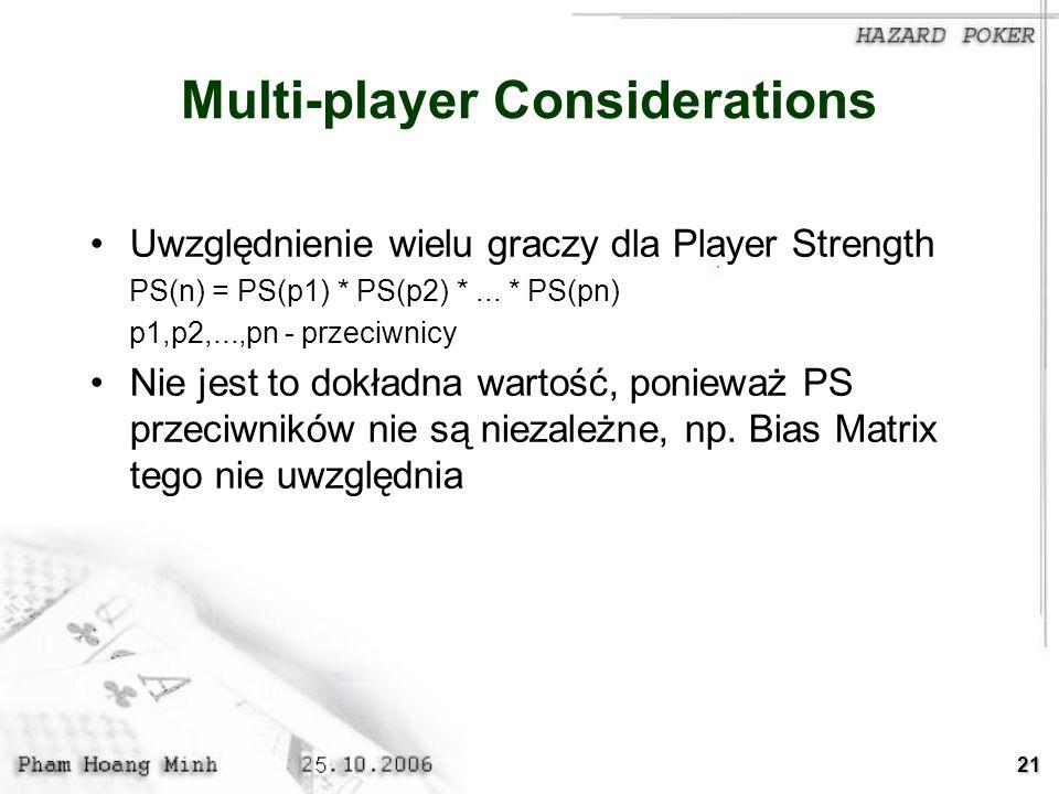 21 Multi-player Considerations Uwzględnienie wielu graczy dla Player Strength PS(n) = PS(p1) * PS(p2) *... * PS(pn) p1,p2,...,pn - przeciwnicy Nie jes