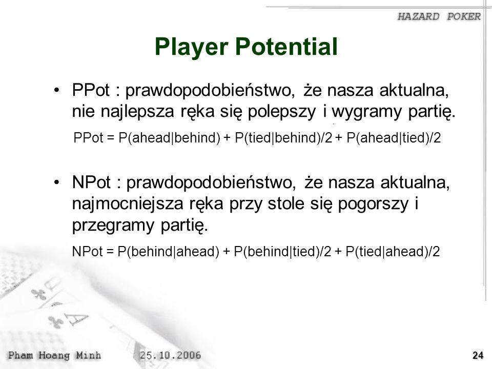 24 Player Potential PPot : prawdopodobieństwo, że nasza aktualna, nie najlepsza ręka się polepszy i wygramy partię. PPot = P(ahead|behind) + P(tied|be