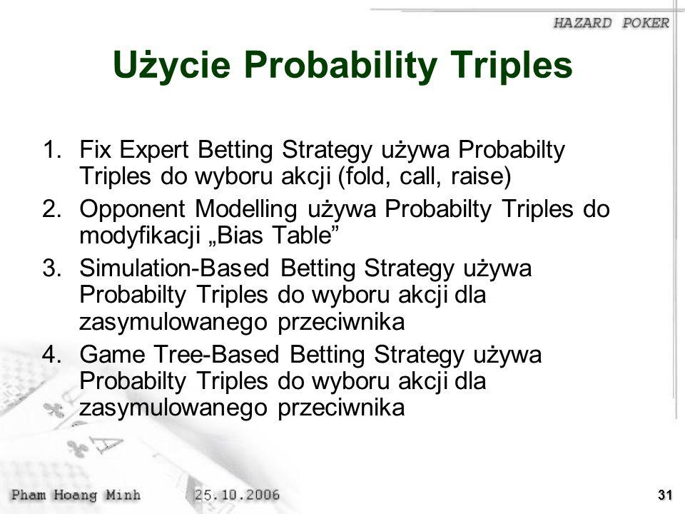 31 Użycie Probability Triples 1.Fix Expert Betting Strategy używa Probabilty Triples do wyboru akcji (fold, call, raise) 2.Opponent Modelling używa Pr