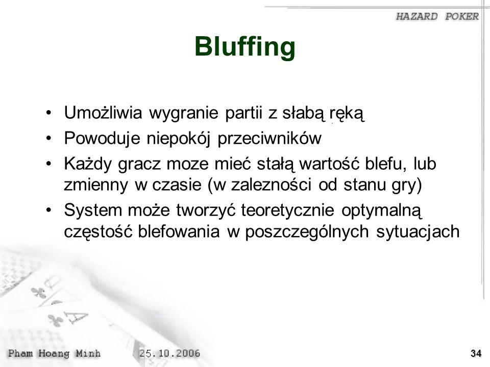 34 Bluffing Umożliwia wygranie partii z słabą ręką Powoduje niepokój przeciwników Każdy gracz moze mieć stałą wartość blefu, lub zmienny w czasie (w z