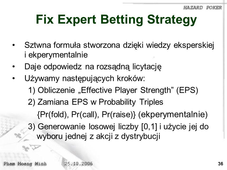 36 Fix Expert Betting Strategy Sztwna formuła stworzona dzięki wiedzy eksperskiej i ekperymentalnie Daje odpowiedz na rozsądną licytację Używamy nastę