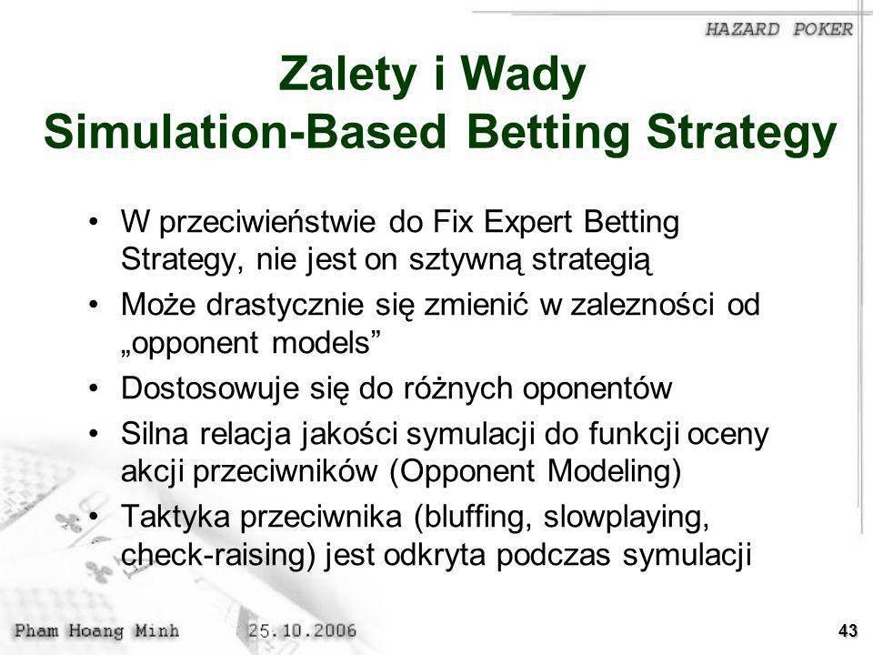 43 Zalety i Wady Simulation-Based Betting Strategy W przeciwieństwie do Fix Expert Betting Strategy, nie jest on sztywną strategią Może drastycznie si