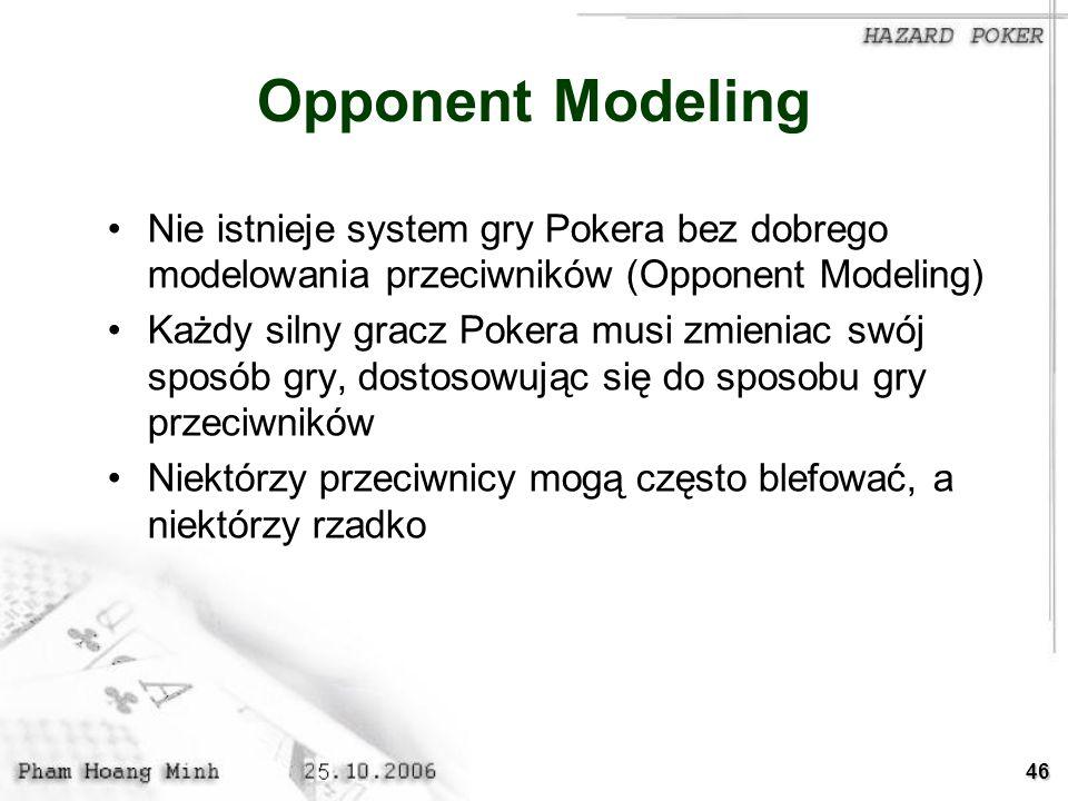 46 Opponent Modeling Nie istnieje system gry Pokera bez dobrego modelowania przeciwników (Opponent Modeling) Każdy silny gracz Pokera musi zmieniac sw