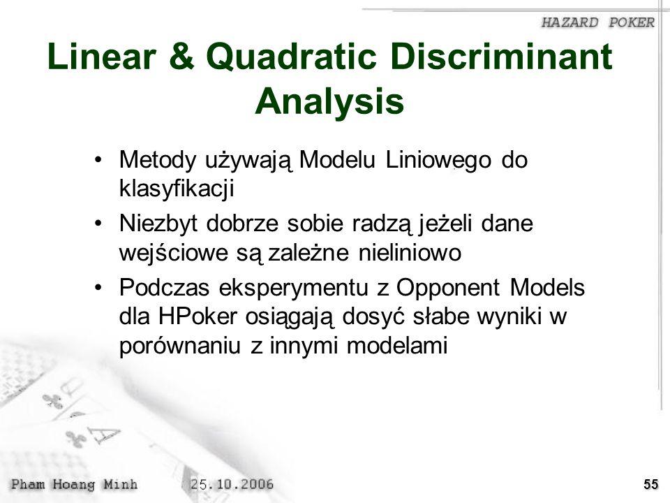 55 Linear & Quadratic Discriminant Analysis Metody używają Modelu Liniowego do klasyfikacji Niezbyt dobrze sobie radzą jeżeli dane wejściowe są zależn