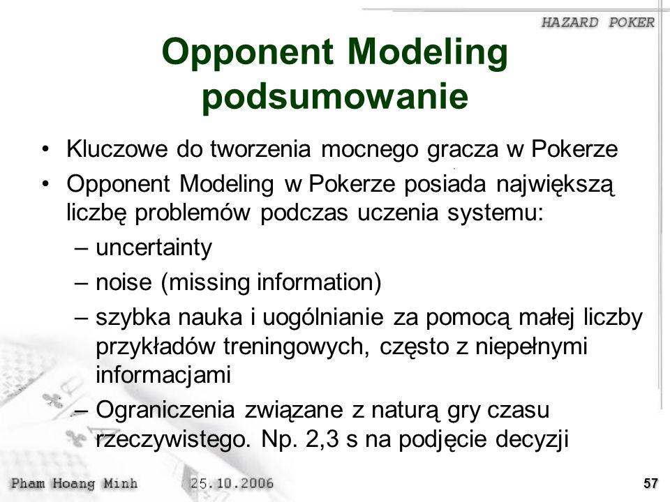 57 Opponent Modeling podsumowanie Kluczowe do tworzenia mocnego gracza w Pokerze Opponent Modeling w Pokerze posiada największą liczbę problemów podcz