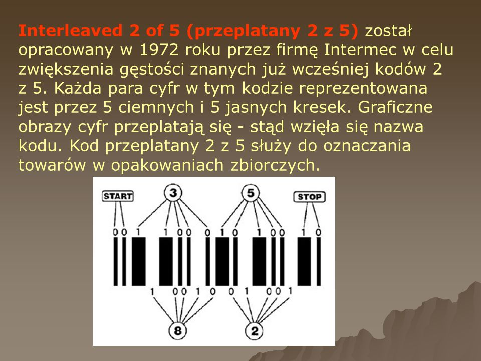 Interleaved 2 of 5 (przeplatany 2 z 5) został opracowany w 1972 roku przez firmę Intermec w celu zwiększenia gęstości znanych już wcześniej kodów 2 z
