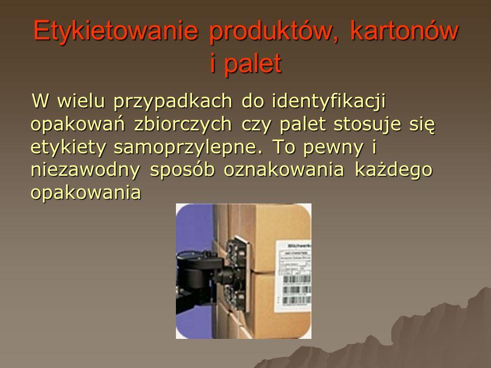 Etykietowanie produktów, kartonów i palet W wielu przypadkach do identyfikacji opakowań zbiorczych czy palet stosuje się etykiety samoprzylepne. To pe