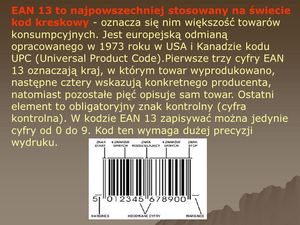 EAN 13 to najpowszechniej stosowany na świecie kod kreskowy - oznacza się nim większość towarów konsumpcyjnych. Jest europejską odmianą opracowanego w