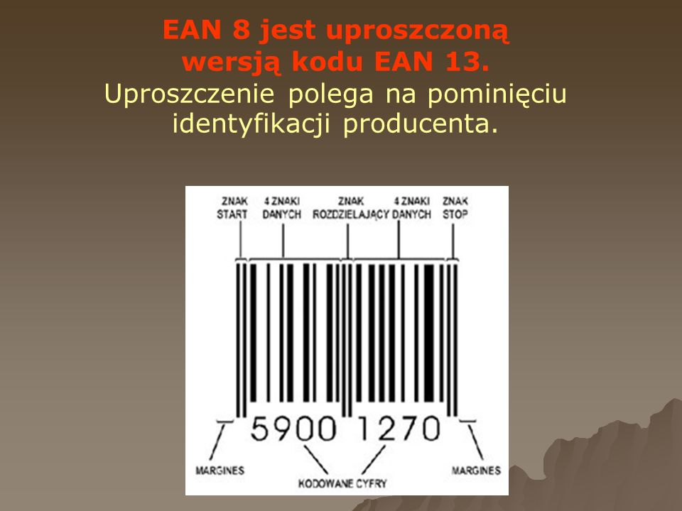 EAN 8 jest uproszczoną wersją kodu EAN 13. Uproszczenie polega na pominięciu identyfikacji producenta.