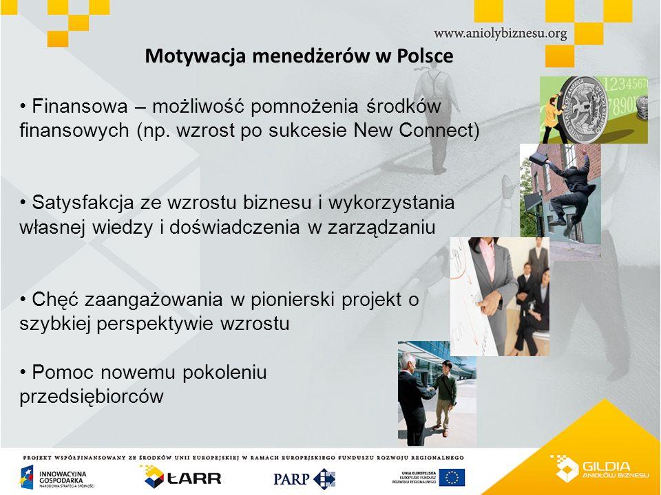 Motywacja menedżerów w Polsce Finansowa – możliwość pomnożenia środków finansowych (np. wzrost po sukcesie New Connect) Satysfakcja ze wzrostu biznesu