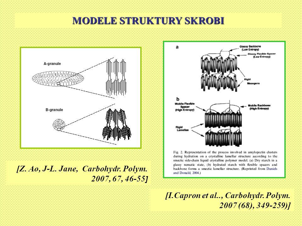 MODELE STRUKTURY SKROBI [Z. Ao, J-L. Jane, Carbohydr. Polym. 2007, 67, 46-55 ] [I.Capron et al.., Carbohydr. Polym. 2007 (68), 349-259)]