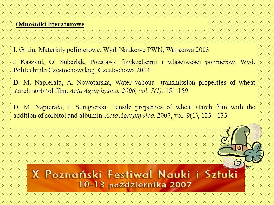 Odnośniki literaturowe I. Gruin, Materiały polimerowe. Wyd. Naukowe PWN, Warszawa 2003 J Kaszkul, O. Suberlak, Podstawy fizykochemii i właściwości pol