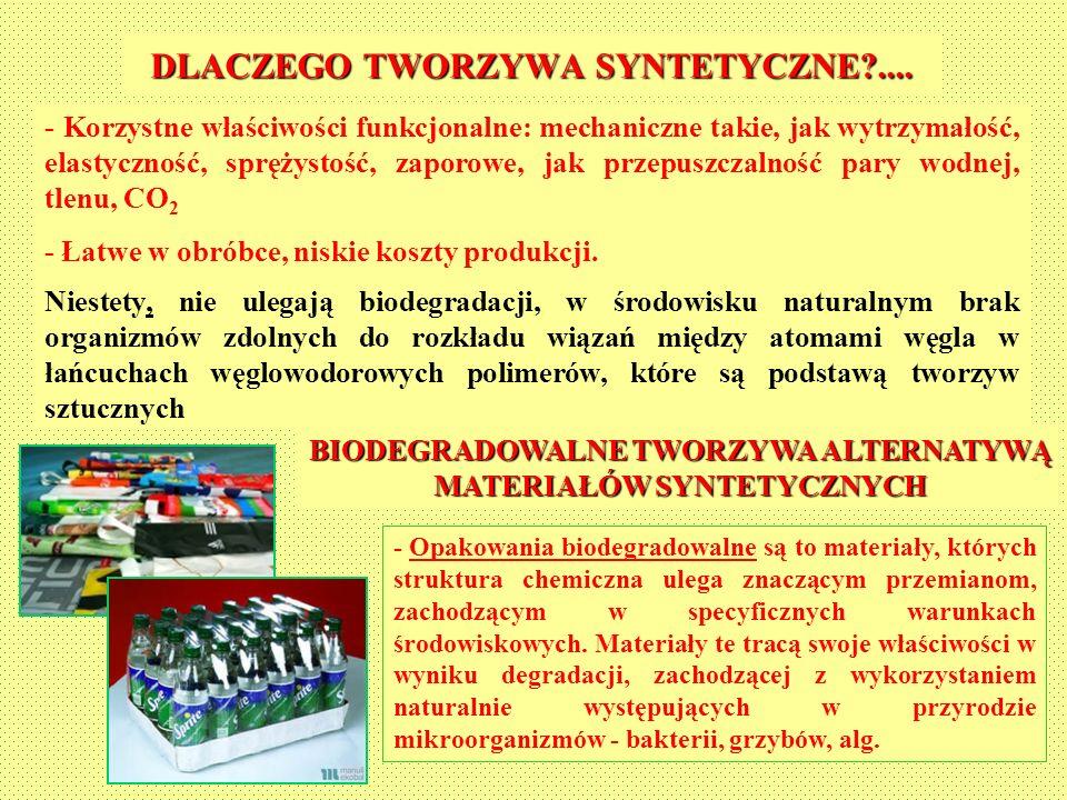 - Korzystne właściwości funkcjonalne: mechaniczne takie, jak wytrzymałość, elastyczność, sprężystość, zaporowe, jak przepuszczalność pary wodnej, tlen