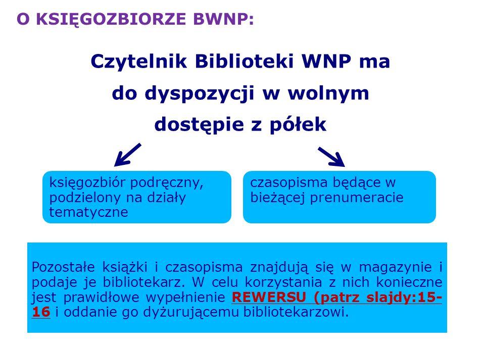 Czytelnik Biblioteki WNP ma do dyspozycji w wolnym dostępie z półek księgozbiór podręczny, podzielony na działy tematyczne czasopisma będące w bieżące