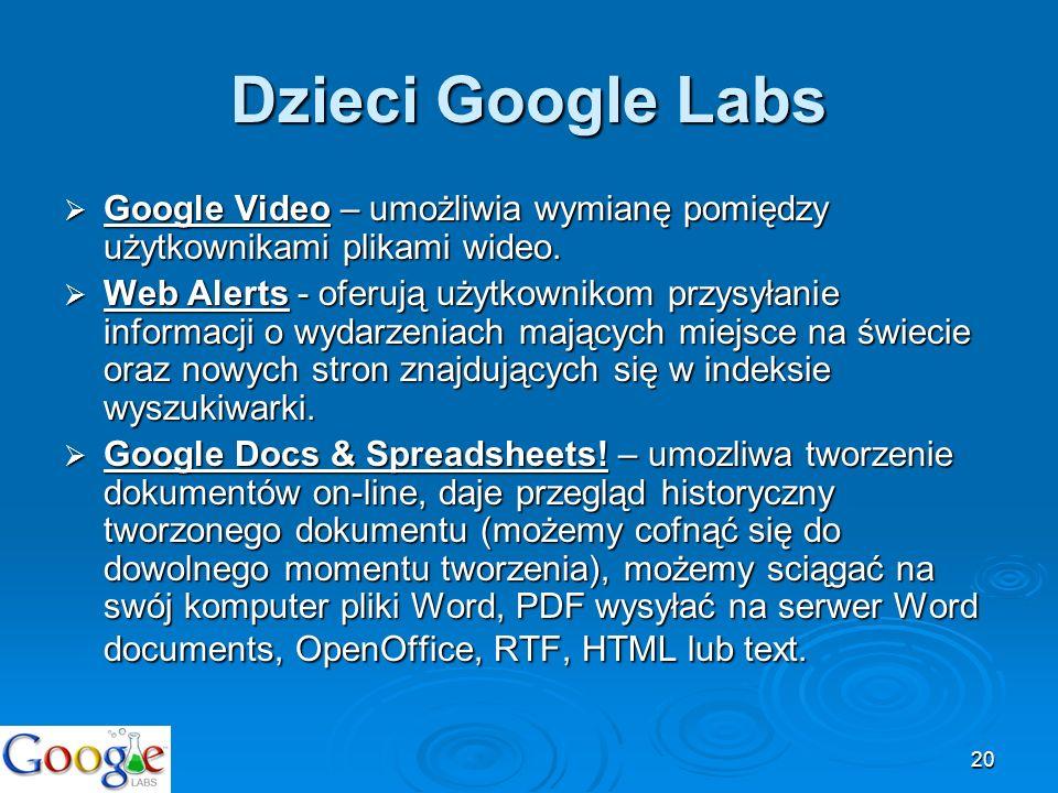 20 Dzieci Google Labs Google Video – umożliwia wymianę pomiędzy użytkownikami plikami wideo. Google Video – umożliwia wymianę pomiędzy użytkownikami p