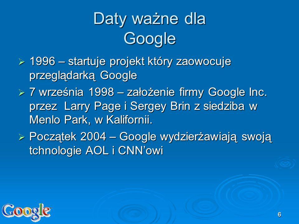 6 Daty ważne dla Google 1996 – startuje projekt który zaowocuje przeglądarką Google 1996 – startuje projekt który zaowocuje przeglądarką Google 7 wrze