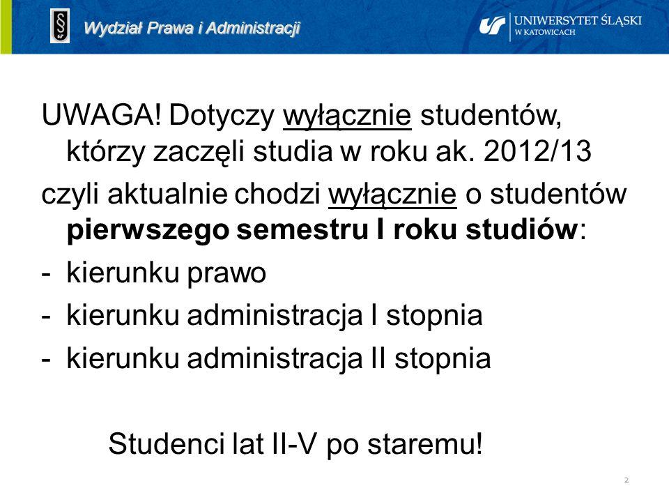 2 Założenia UWAGA! Dotyczy wyłącznie studentów, którzy zaczęli studia w roku ak. 2012/13 czyli aktualnie chodzi wyłącznie o studentów pierwszego semes