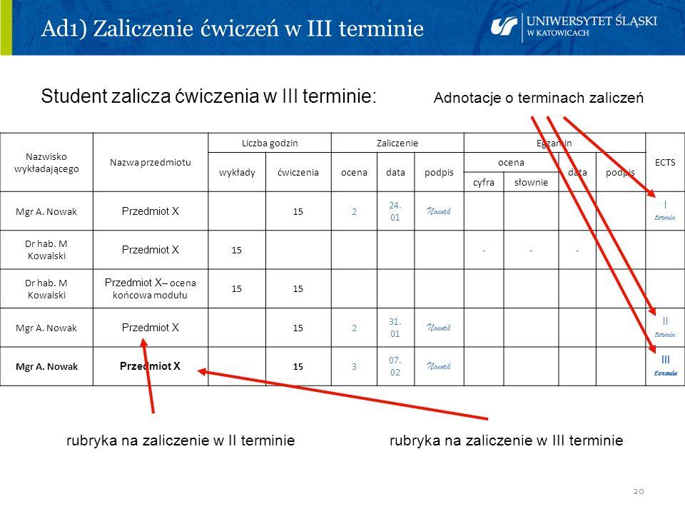 20 Ad1) Zaliczenie ćwiczeń w III terminie Student zalicza ćwiczenia w III terminie: Adnotacje o terminach zaliczeń rubryka na zaliczenie w II terminie