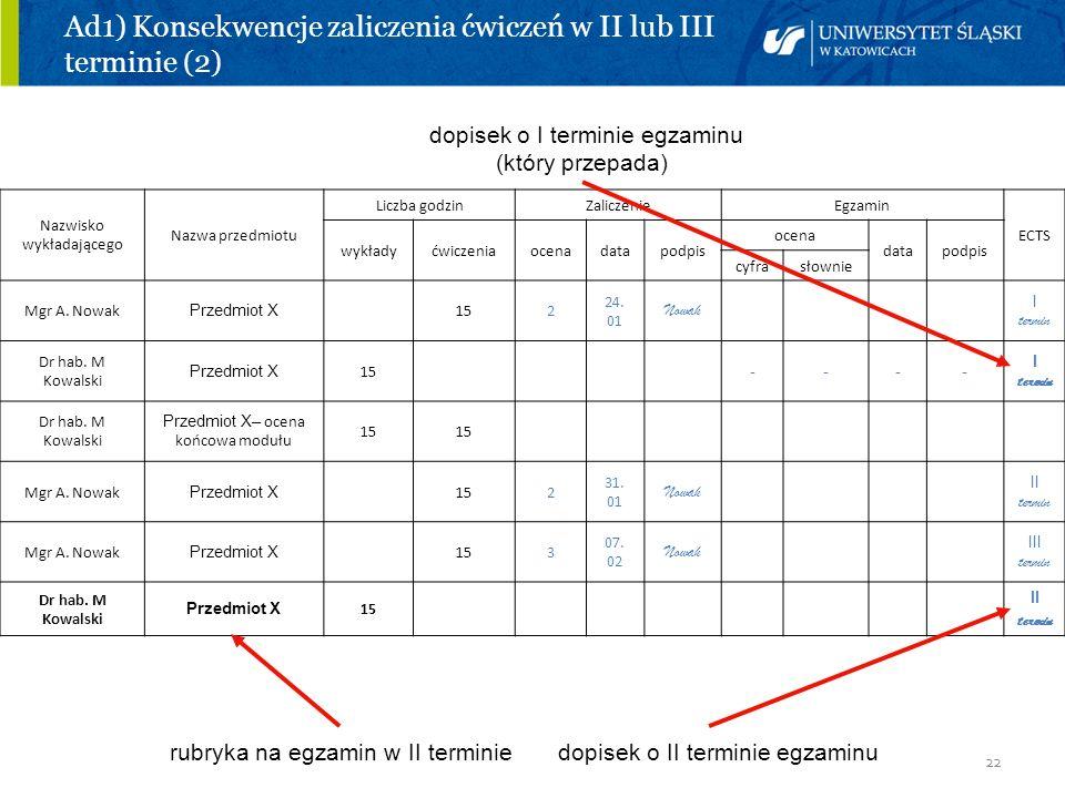 22 Ad1) Konsekwencje zaliczenia ćwiczeń w II lub III terminie (2) dopisek o I terminie egzaminu (który przepada) rubryka na egzamin w II terminie dopi