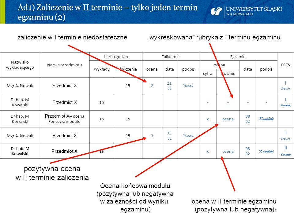 31 Ad1) Zaliczenie w II terminie – tylko jeden termin egzaminu (2) zaliczenie w I terminie niedostateczne wykreskowana rubryka z I terminu egzaminu po
