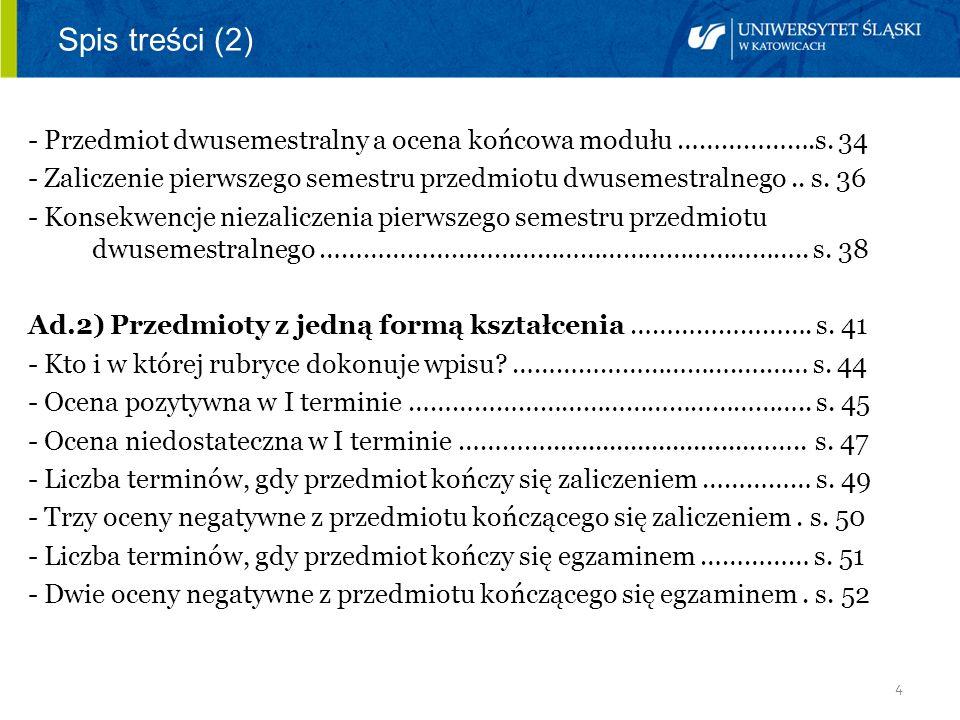 4 Spis treści (2) - Przedmiot dwusemestralny a ocena końcowa modułu ……………….s. 34 - Zaliczenie pierwszego semestru przedmiotu dwusemestralnego.. s. 36