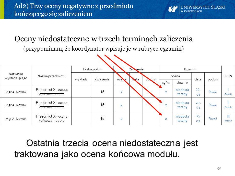 50 Ad2) Trzy oceny negatywne z przedmiotu kończącego się zaliczeniem Oceny niedostateczne w trzech terminach zaliczenia (przypominam, że koordynator w