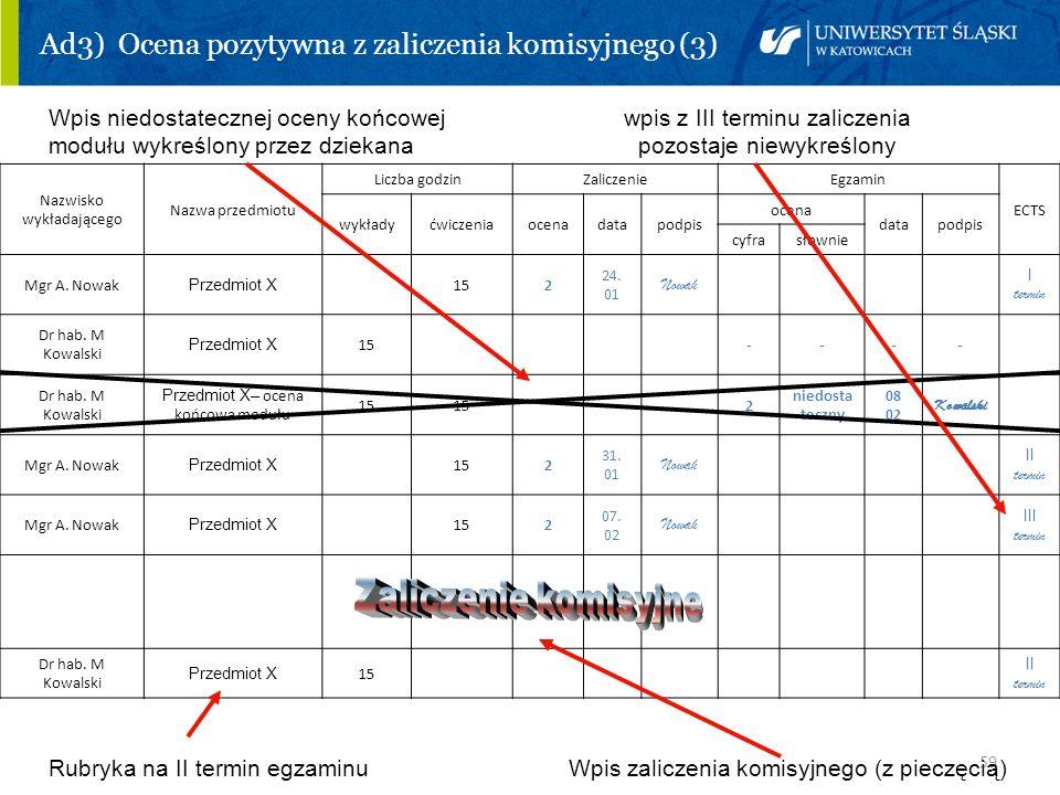 59 Ad3) Ocena pozytywna z zaliczenia komisyjnego (3) Wpis niedostatecznej oceny końcowej wpis z III terminu zaliczenia modułu wykreślony przez dziekan