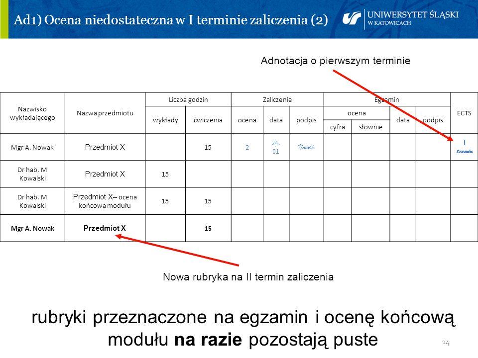 14 Ad1) Ocena niedostateczna w I terminie zaliczenia (2) Adnotacja o pierwszym terminie Nowa rubryka na II termin zaliczenia rubryki przeznaczone na e