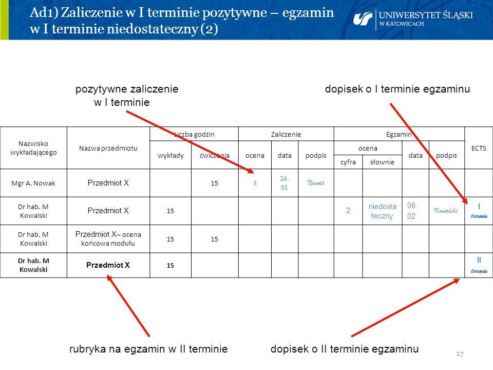 27 Ad1) Zaliczenie w I terminie pozytywne – egzamin w I terminie niedostateczny (2) pozytywne zaliczenie dopisek o I terminie egzaminu w I terminie ru