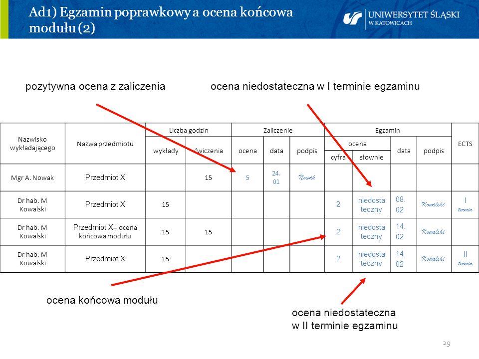 29 Ad1) Egzamin poprawkowy a ocena końcowa modułu (2) pozytywna ocena z zaliczenia ocena niedostateczna w I terminie egzaminu ocena końcowa modułu oce