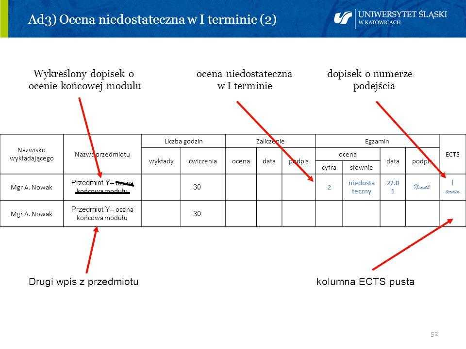 52 Ad3) Ocena niedostateczna w I terminie (2) Wykreślony dopisek o ocena niedostateczna dopisek o numerze ocenie końcowej modułu w I terminie podejści