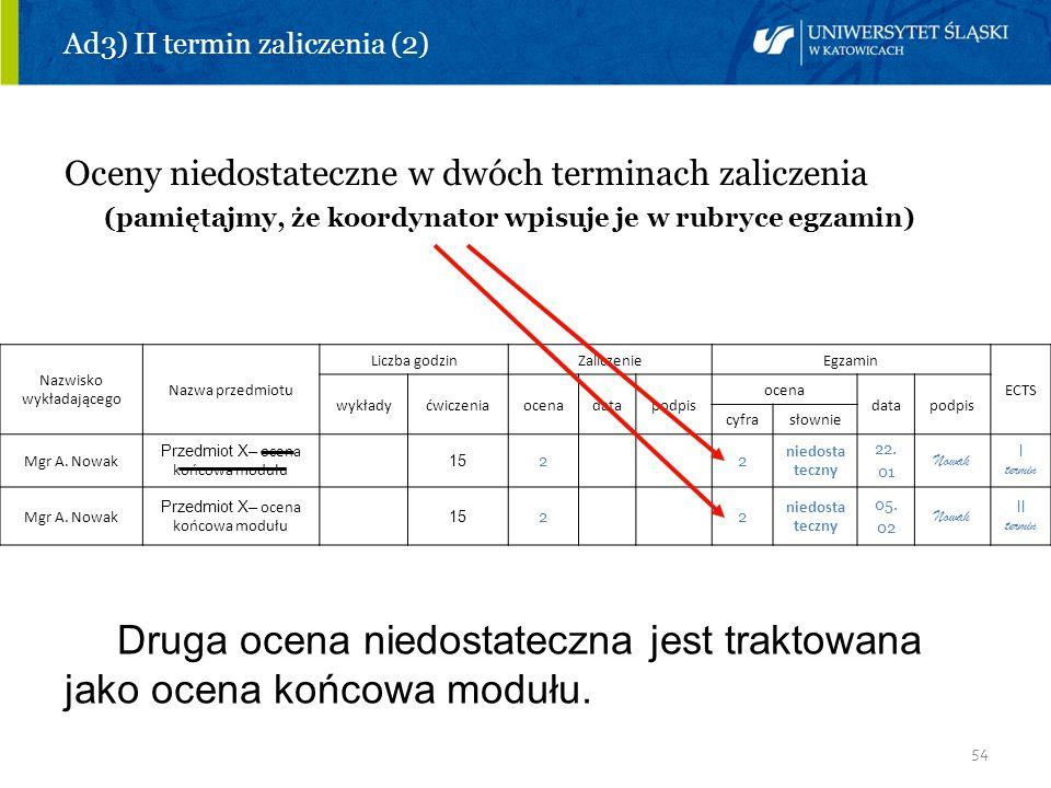 54 Ad3) II termin zaliczenia (2) Oceny niedostateczne w dwóch terminach zaliczenia (pamiętajmy, że koordynator wpisuje je w rubryce egzamin) Nazwisko
