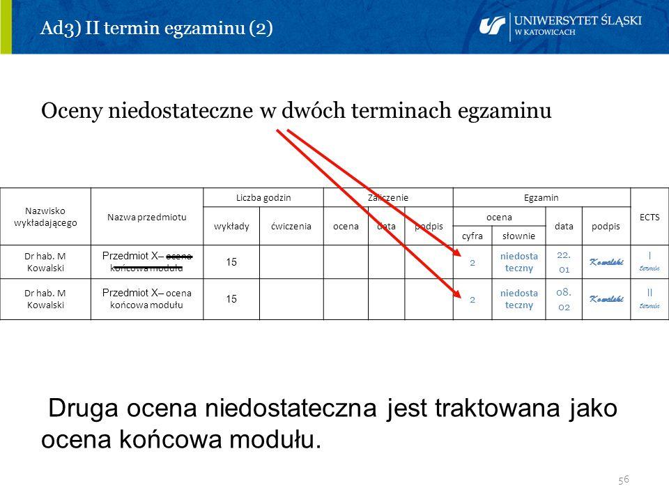 56 Ad3) II termin egzaminu (2) Oceny niedostateczne w dwóch terminach egzaminu Nazwisko wykładającego Nazwa przedmiotu Liczba godzinZaliczenieEgzamin