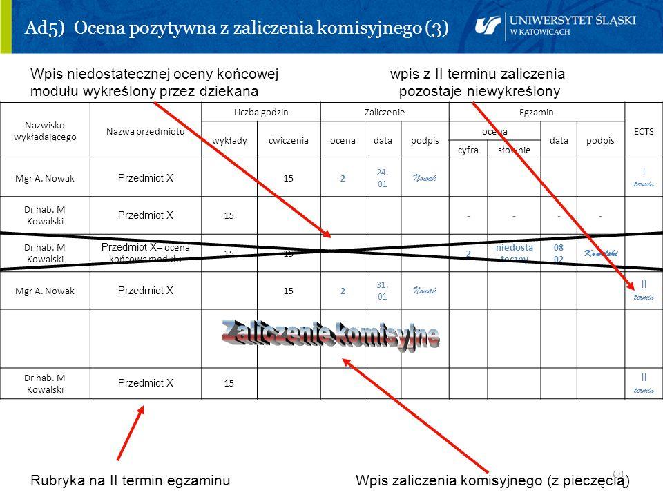 68 Ad5) Ocena pozytywna z zaliczenia komisyjnego (3) Wpis niedostatecznej oceny końcowej wpis z II terminu zaliczenia modułu wykreślony przez dziekana