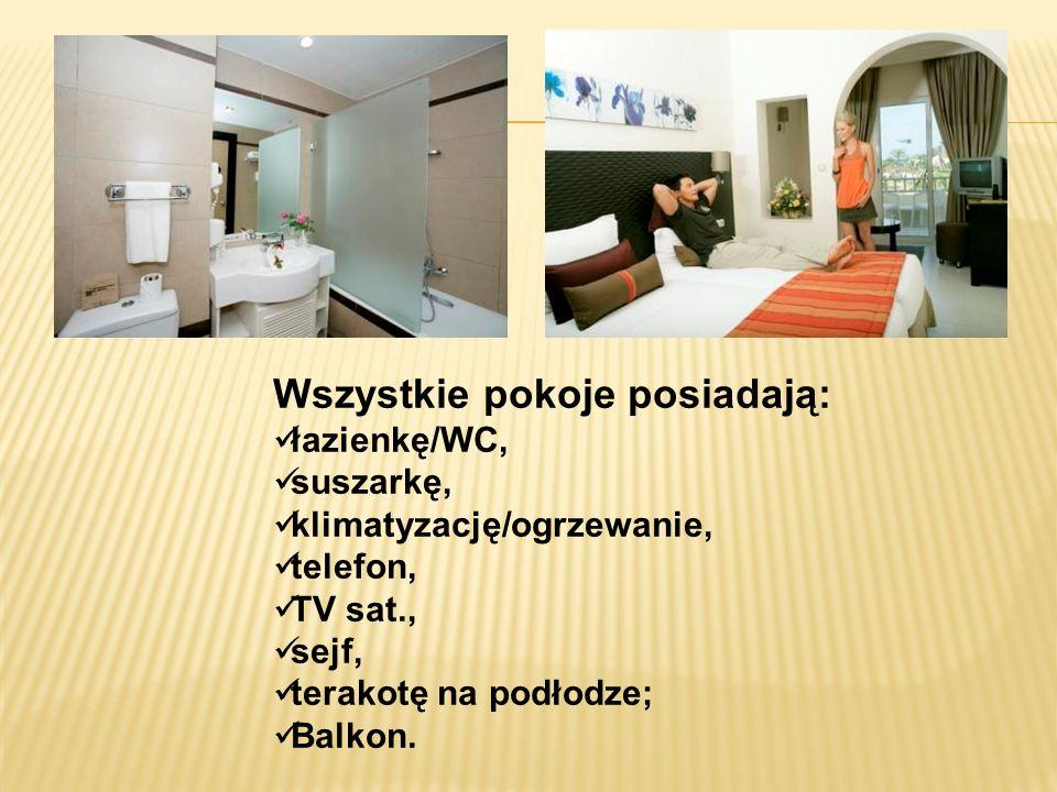 Wszystkie pokoje posiadają: łazienkę/WC, suszarkę, klimatyzację/ogrzewanie, telefon, TV sat., sejf, terakotę na podłodze; Balkon.