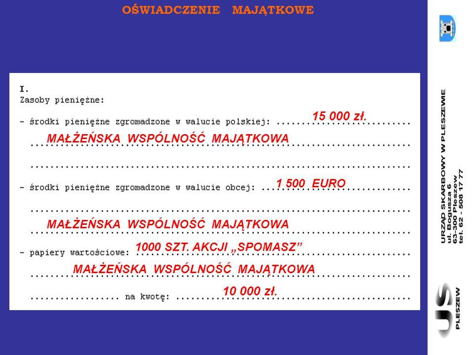 OŚWIADCZENIE MAJĄTKOWE 15 000 zł.