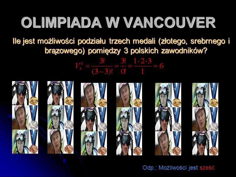 OLIMPIADA W VANCOUVER Ile jest możliwości podziału trzech medali (złotego, srebrnego i brązowego) pomiędzy 3 polskich zawodników? Ile jest możliwości
