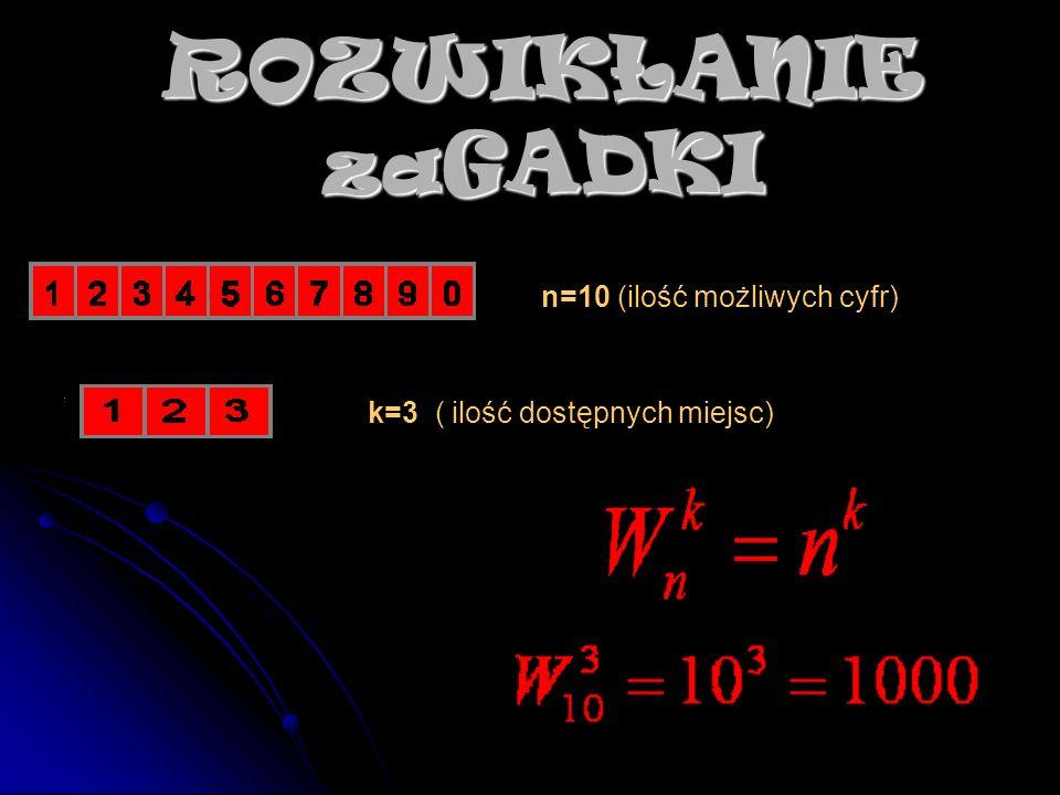 ROZWIKŁANIE za GADKI k=3 ( ilość dostępnych miejsc) n=10 (ilość możliwych cyfr)