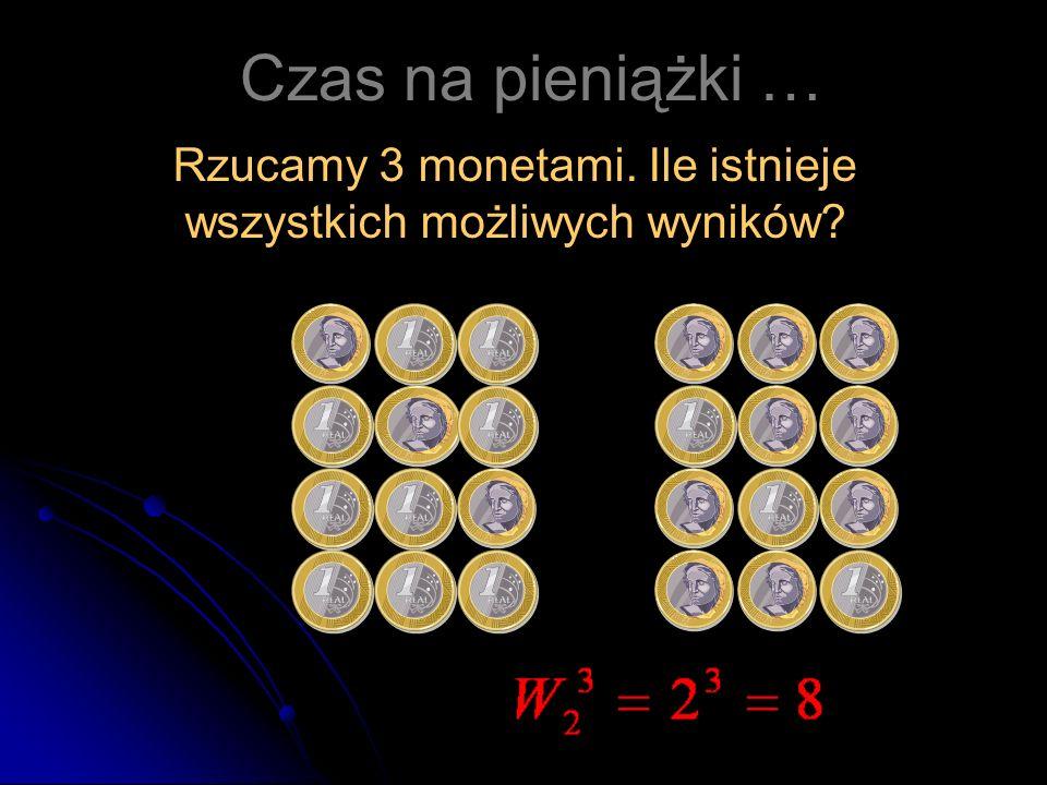 Rzucamy 3 monetami. Ile istnieje wszystkich możliwych wyników? Czas na pieniążki …