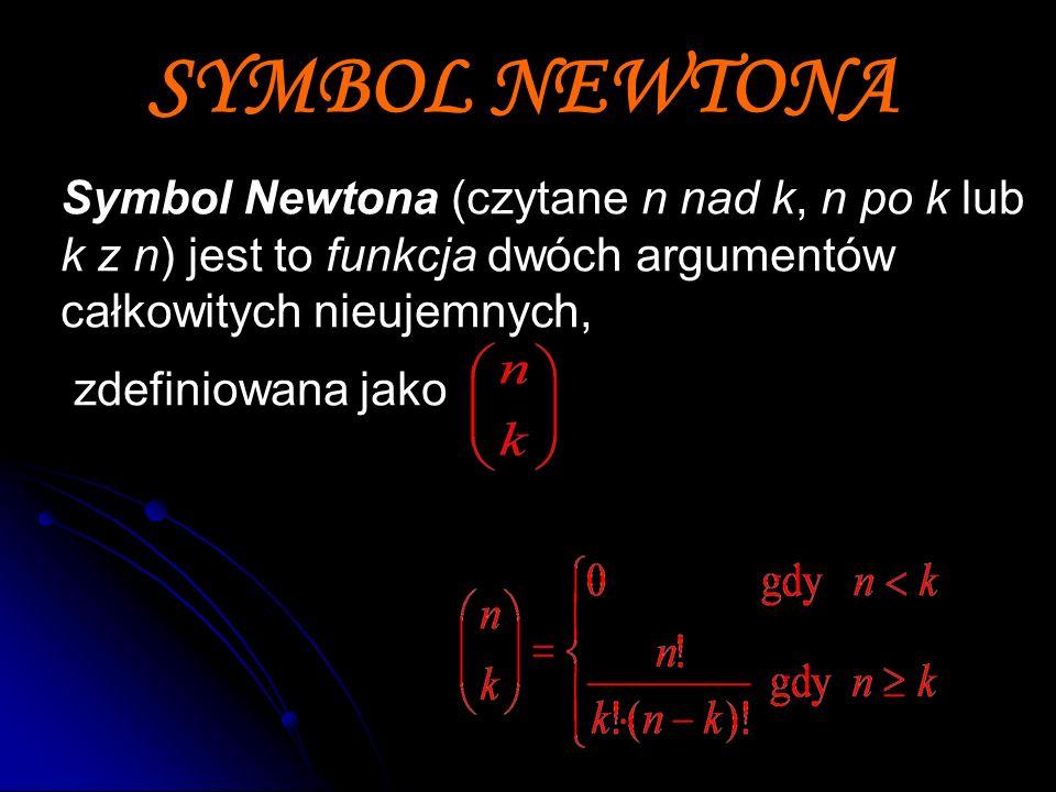 SYMBOL NEWTONA Symbol Newtona (czytane n nad k, n po k lub k z n) jest to funkcja dwóch argumentów całkowitych nieujemnych, zdefiniowana jako