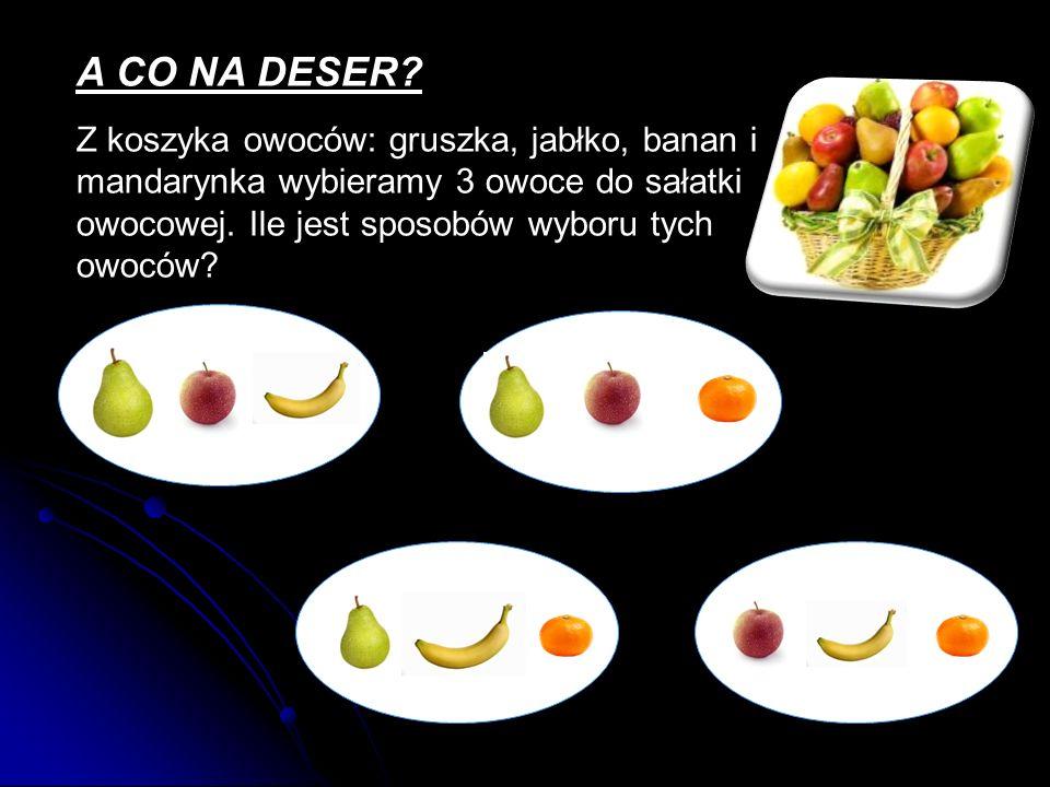 A CO NA DESER? Z koszyka owoców: gruszka, jabłko, banan i mandarynka wybieramy 3 owoce do sałatki owocowej. Ile jest sposobów wyboru tych owoców?