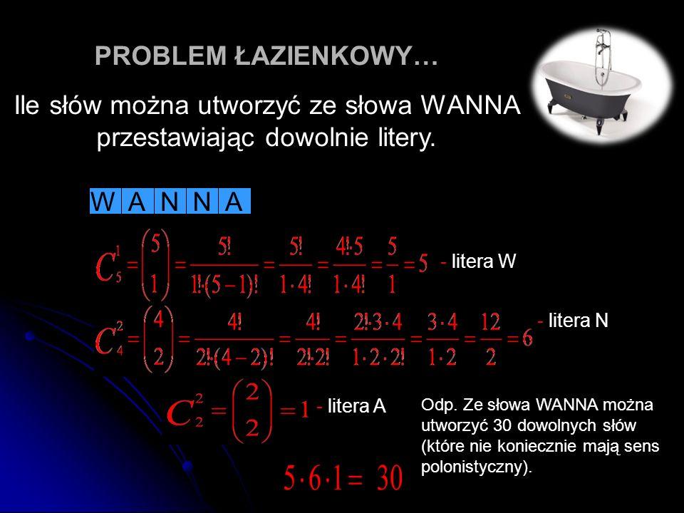 PROBLEM ŁAZIENKOWY… Ile słów można utworzyć ze słowa WANNA przestawiając dowolnie litery. WAANN Odp. Ze słowa WANNA można utworzyć 30 dowolnych słów (